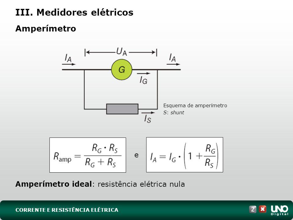 III. Medidores elétricos Amperímetro Amperímetro ideal: resistência elétrica nula Esquema de amperímetro S: shunt CORRENTE E RESISTÊNCIA ELÉTRICA e
