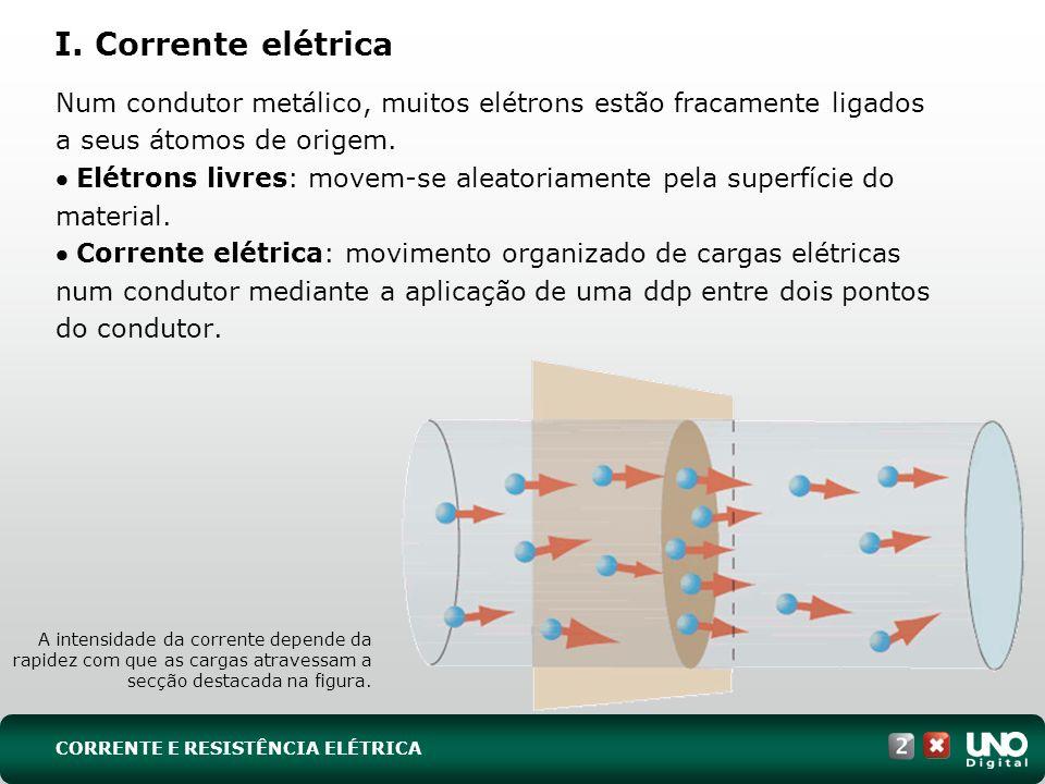 CORRENTE E RESISTÊNCIA ELÉTRICA I. Corrente elétrica Num condutor metálico, muitos elétrons estão fracamente ligados a seus átomos de origem. Elétrons
