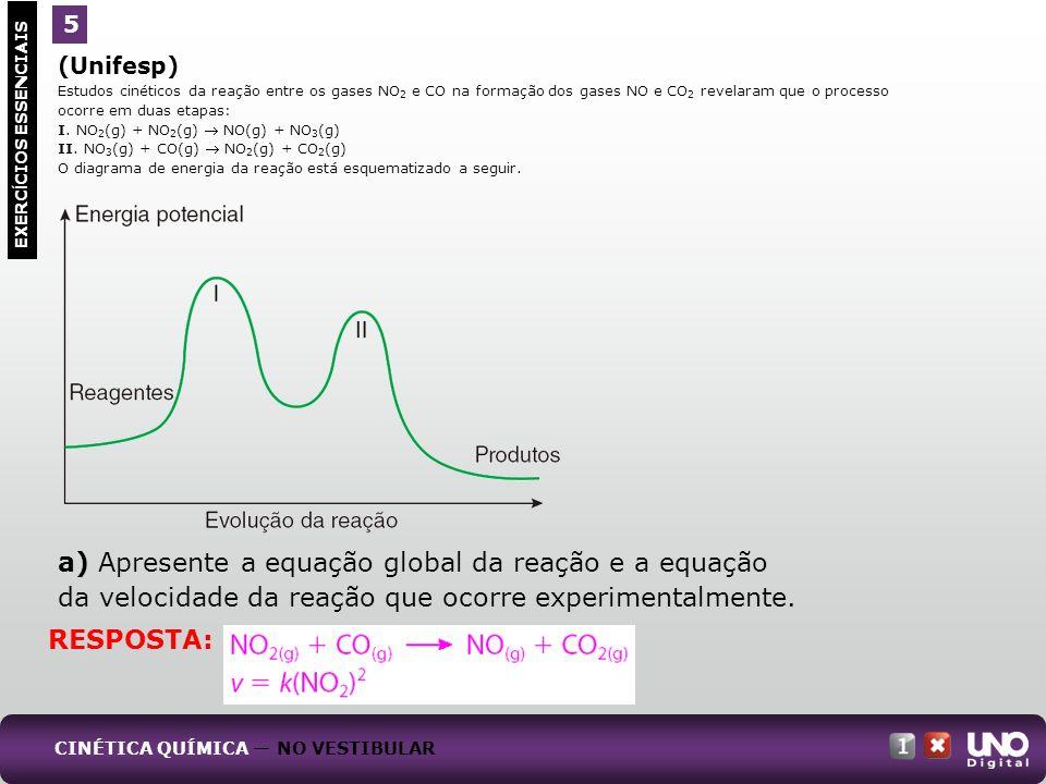 (Unifesp) Estudos cinéticos da reação entre os gases NO 2 e CO na formação dos gases NO e CO 2 revelaram que o processo ocorre em duas etapas: I. NO 2