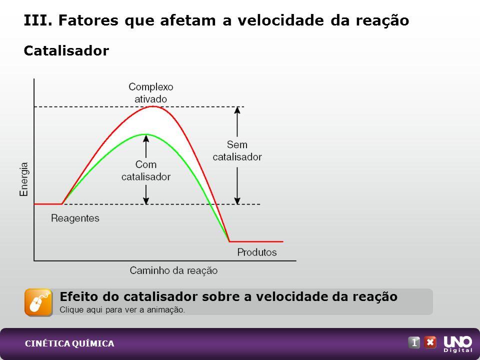 Catalisador III. Fatores que afetam a velocidade da reação Efeito do catalisador sobre a velocidade da reação Clique aqui para ver a animação. CINÉTIC