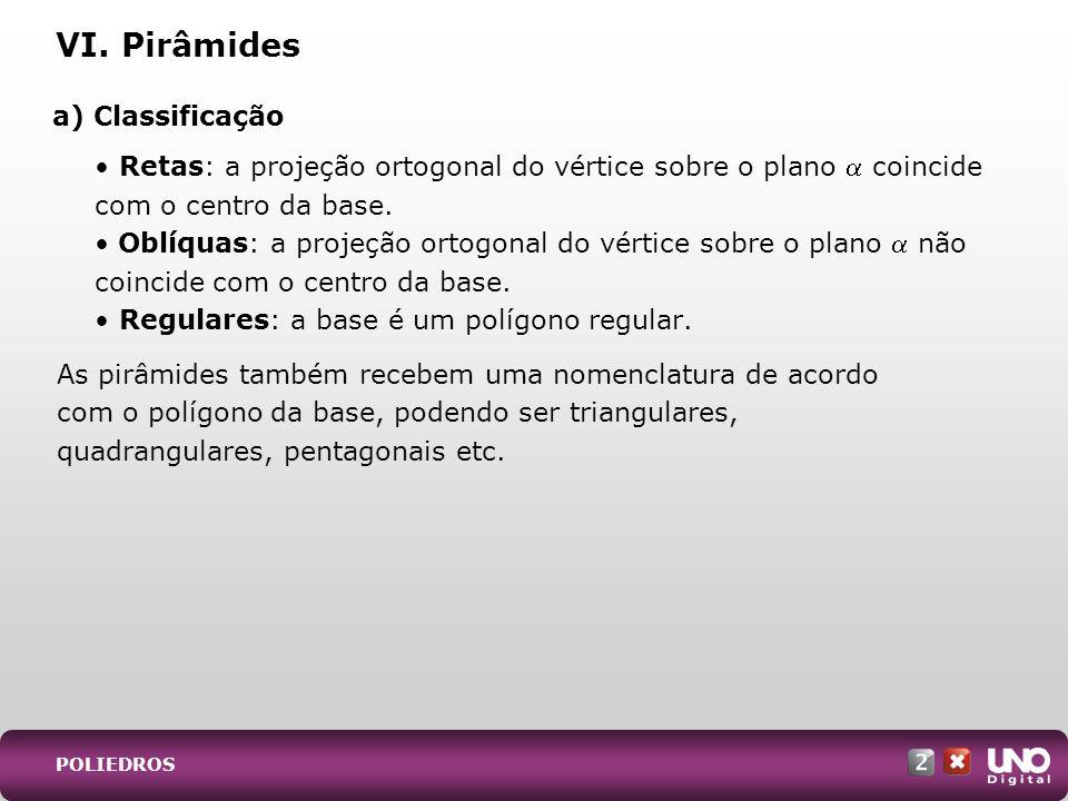 a) Classificação Retas: a projeção ortogonal do vértice sobre o plano coincide com o centro da base. Oblíquas: a projeção ortogonal do vértice sobre o