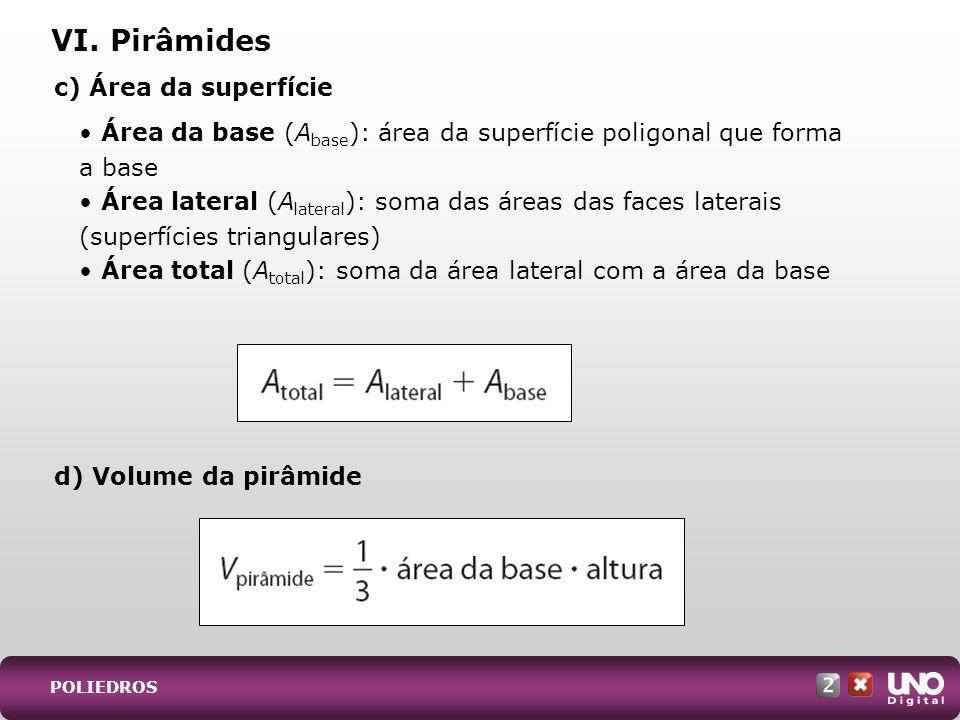 c) Área da superfície Área da base (A base ): área da superfície poligonal que forma a base Área lateral (A lateral ): soma das áreas das faces latera