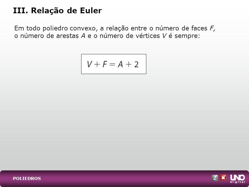 Em todo poliedro convexo, a relação entre o número de faces F, o número de arestas A e o número de vértices V é sempre: III. Relação de Euler POLIEDRO