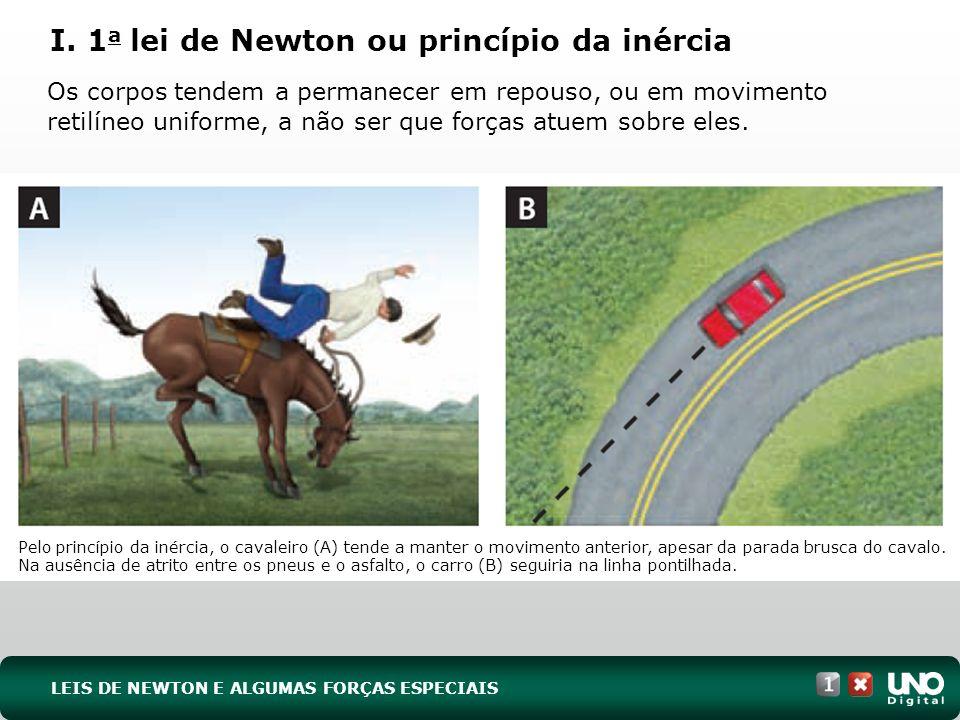 LEIS DE NEWTON E ALGUMAS FORÇAS ESPECIAIS I. 1 a lei de Newton ou princípio da inércia Os corpos tendem a permanecer em repouso, ou em movimento retil