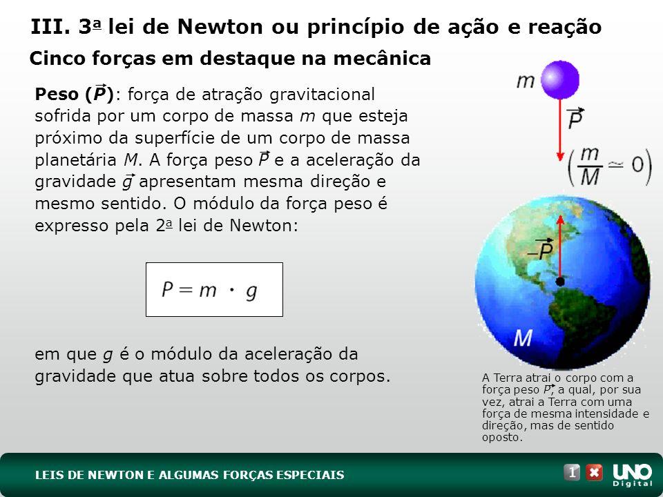 A Terra atrai o corpo com a força peso P, a qual, por sua vez, atrai a Terra com uma força de mesma intensidade e direção, mas de sentido oposto. Peso