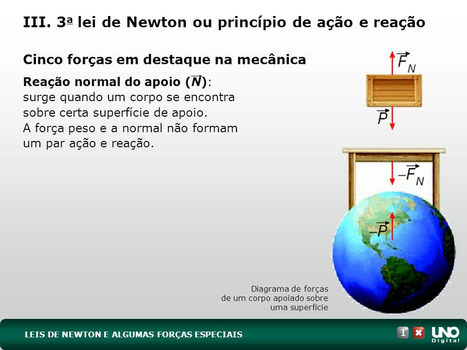 Reação normal do apoio (N): surge quando um corpo se encontra sobre certa superfície de apoio. A força peso e a normal não formam um par ação e reação