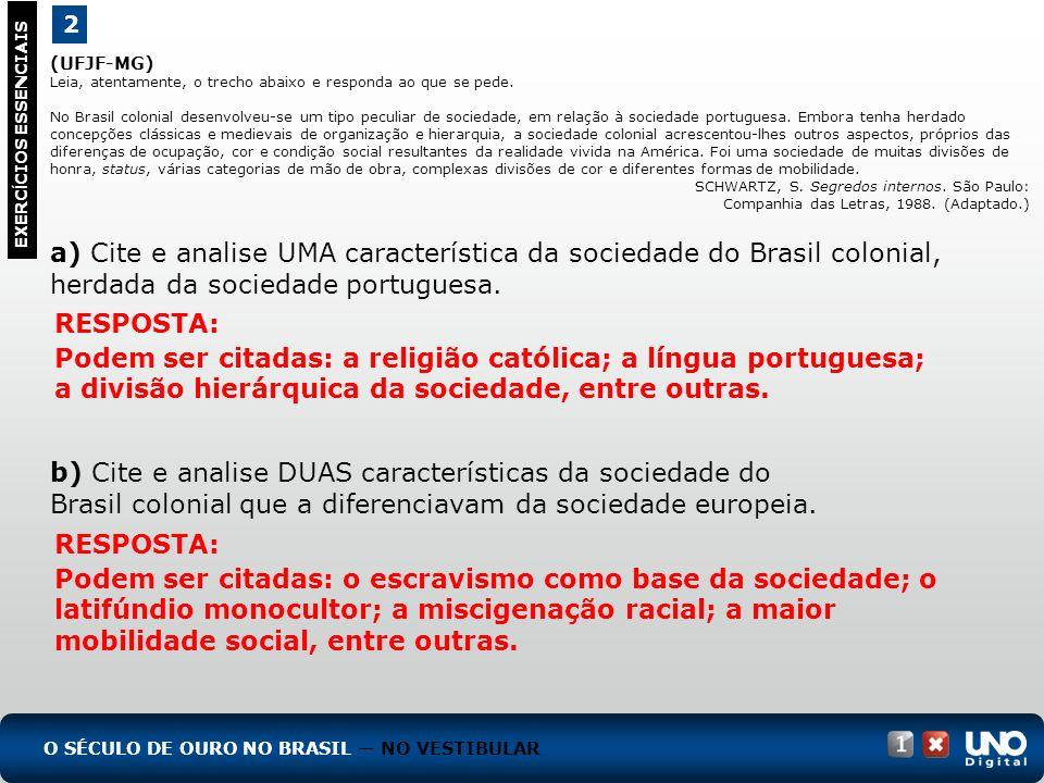 (UFJF-MG) Leia, atentamente, o trecho abaixo e responda ao que se pede. No Brasil colonial desenvolveu-se um tipo peculiar de sociedade, em relação à