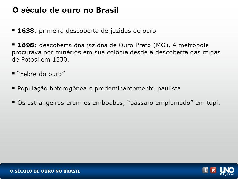 O SÉCULO DE OURO NO BRASIL O século de ouro no Brasil 1638: primeira descoberta de jazidas de ouro 1698: descoberta das jazidas de Ouro Preto (MG). A