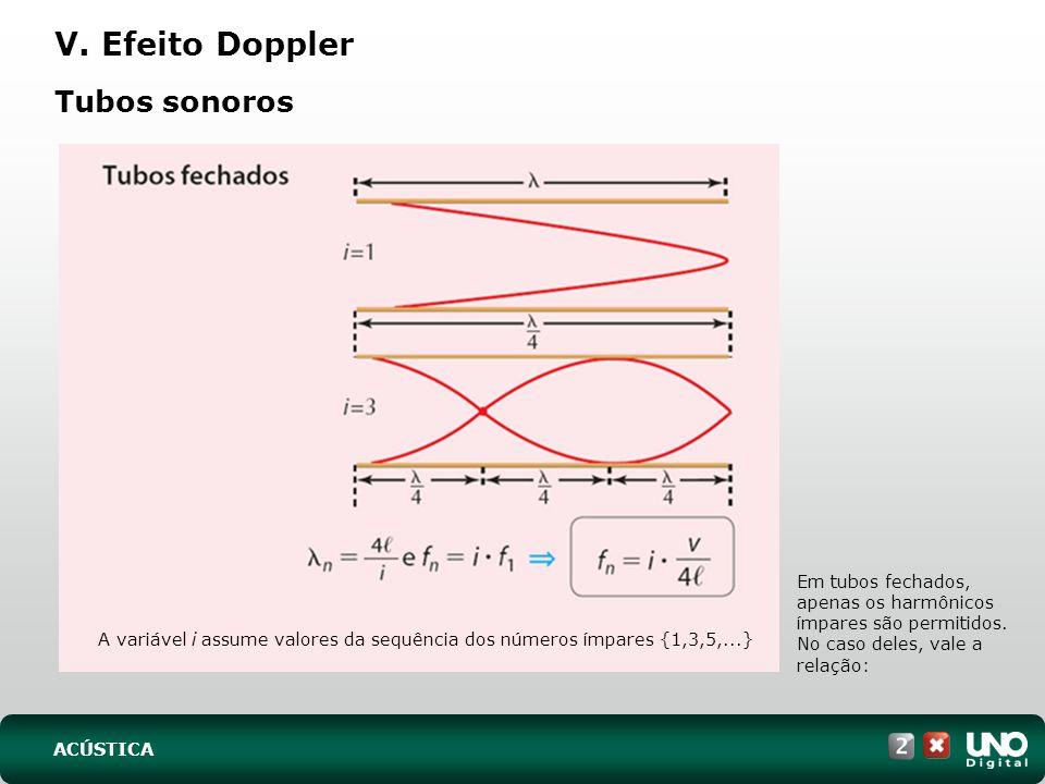 Tubos sonoros V. Efeito Doppler Em tubos fechados, apenas os harmônicos ímpares são permitidos. No caso deles, vale a relação: A variável i assume val