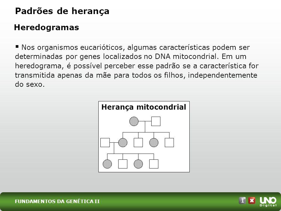 Padrões de herança Heredogramas Nos organismos eucarióticos, algumas características podem ser determinadas por genes localizados no DNA mitocondrial.