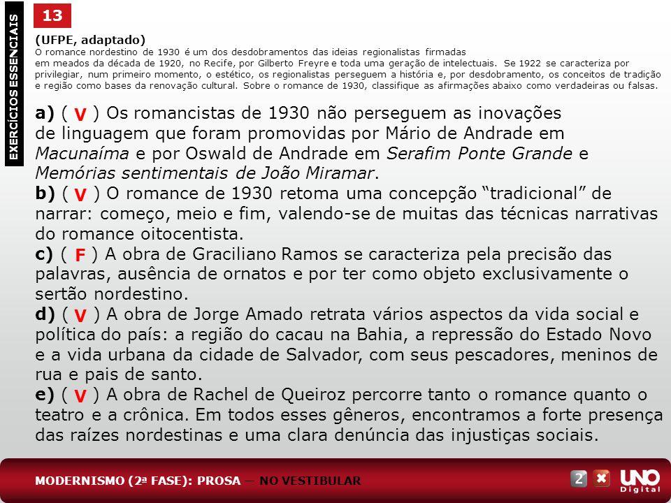 (UFPE, adaptado) O romance nordestino de 1930 é um dos desdobramentos das ideias regionalistas firmadas em meados da década de 1920, no Recife, por Gi
