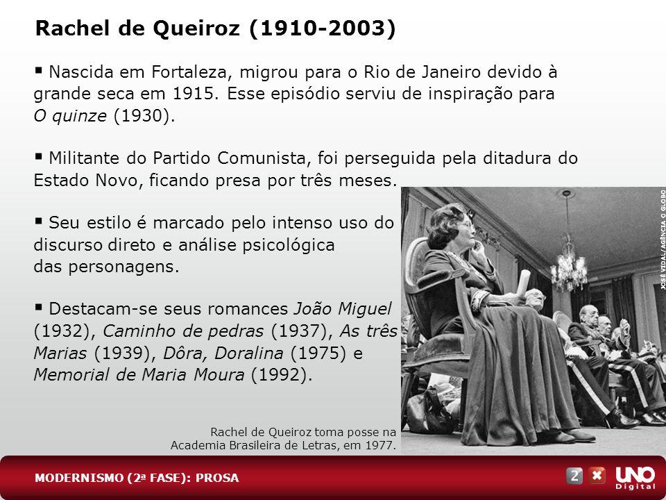 Rachel de Queiroz (1910-2003) Nascida em Fortaleza, migrou para o Rio de Janeiro devido à grande seca em 1915. Esse episódio serviu de inspiração para
