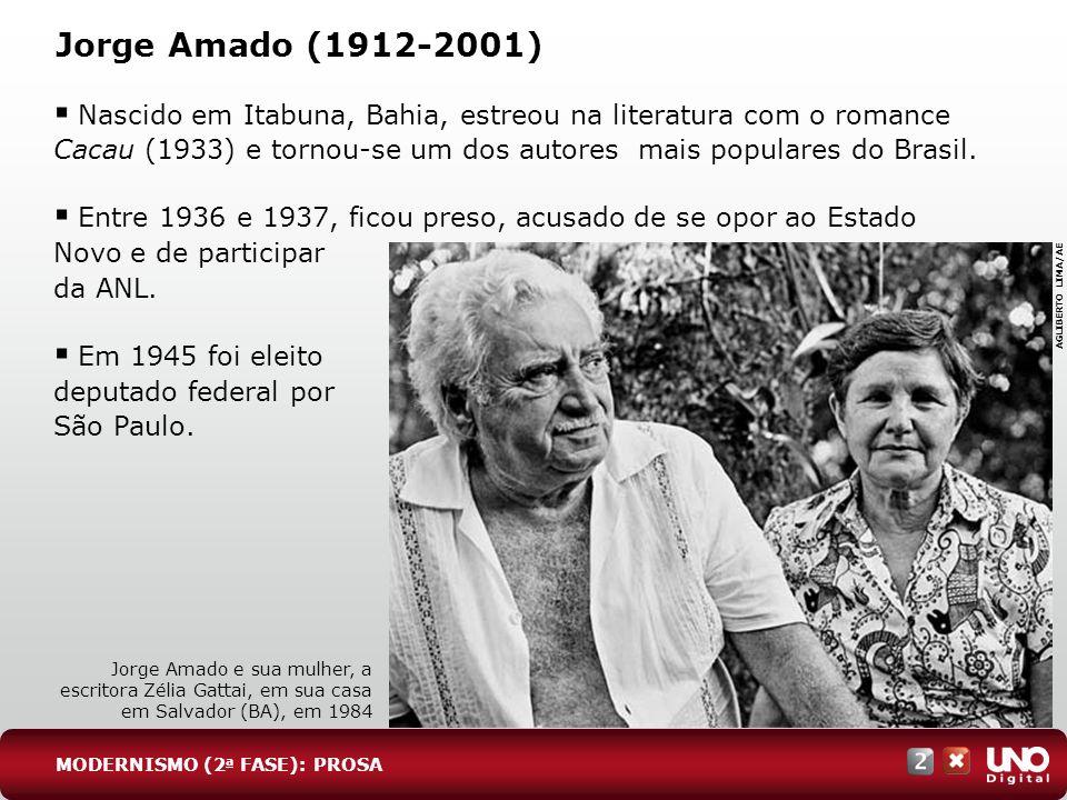 Jorge Amado (1912-2001) Nascido em Itabuna, Bahia, estreou na literatura com o romance Cacau (1933) e tornou-se um dos autores mais populares do Brasi