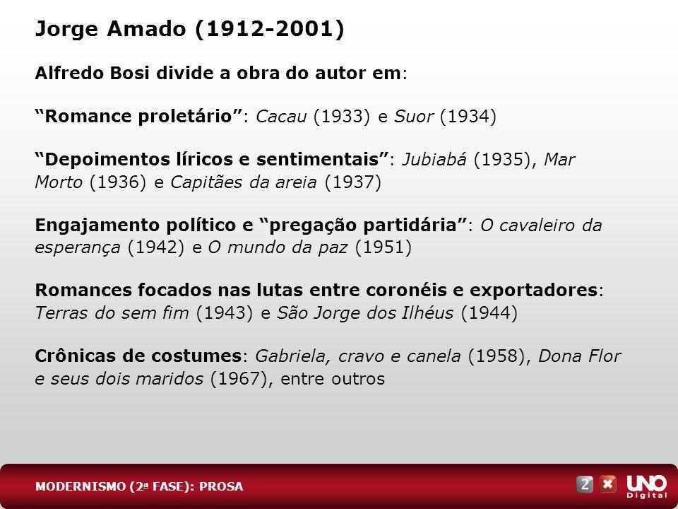 Jorge Amado (1912-2001) Alfredo Bosi divide a obra do autor em: Romance proletário: Cacau (1933) e Suor (1934) Depoimentos líricos e sentimentais: Jub