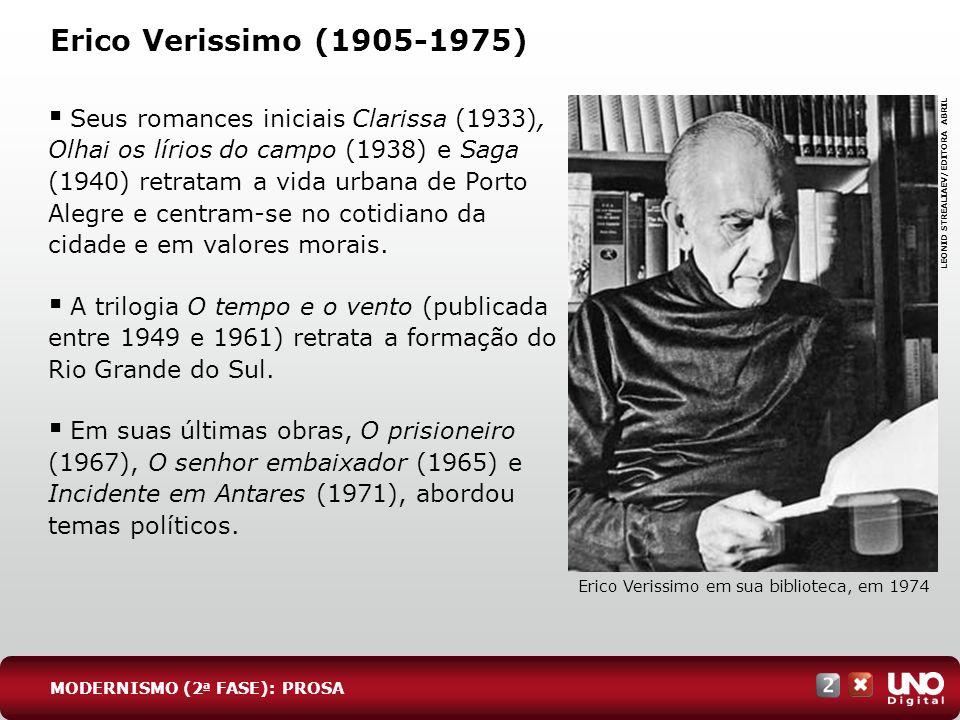 Erico Verissimo (1905-1975) Seus romances iniciais Clarissa (1933), Olhai os lírios do campo (1938) e Saga (1940) retratam a vida urbana de Porto Aleg