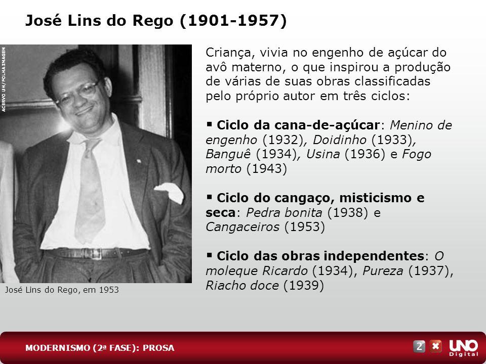 José Lins do Rego (1901-1957) Criança, vivia no engenho de açúcar do avô materno, o que inspirou a produção de várias de suas obras classificadas pelo