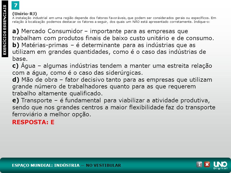 7 EXERC Í CIOS ESSENCIAIS RESPOSTA: E (Unirio-RJ) A instalação industrial em uma região depende dos fatores favoráveis, que podem ser considerados ger