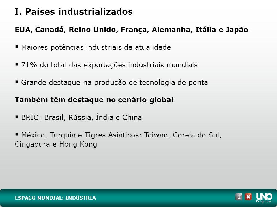 I. Países industrializados ESPAÇO MUNDIAL: INDÚSTRIA EUA, Canadá, Reino Unido, França, Alemanha, Itália e Japão: Maiores potências industriais da atua