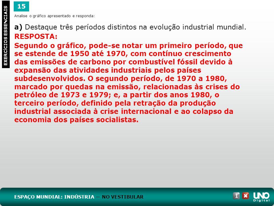 15 EXERC Í CIOS ESSENCIAIS RESPOSTA: Segundo o gráfico, pode-se notar um primeiro período, que se estende de 1950 até 1970, com contínuo crescimento d