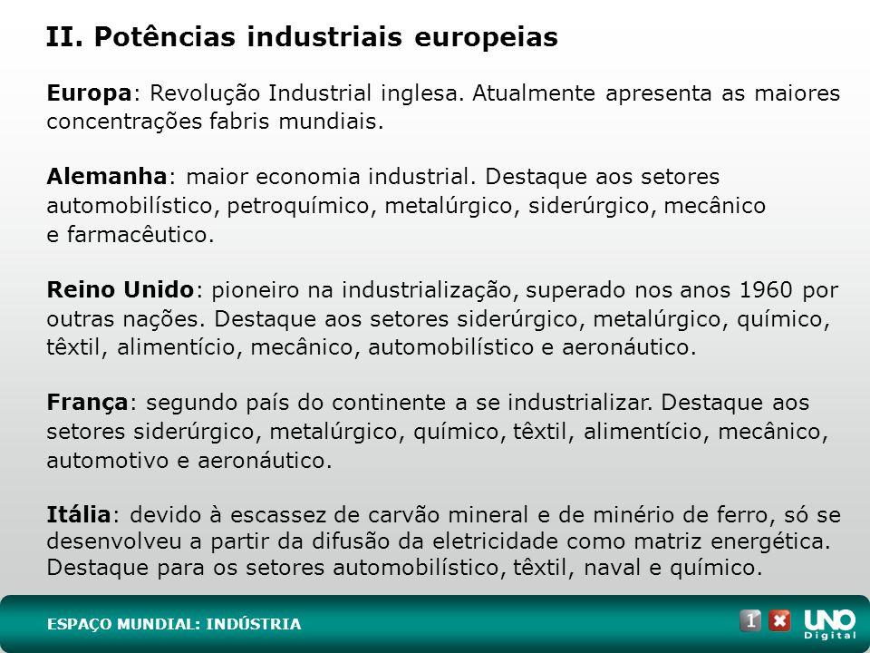 II. Potências industriais europeias Europa: Revolução Industrial inglesa. Atualmente apresenta as maiores concentrações fabris mundiais. Alemanha: mai