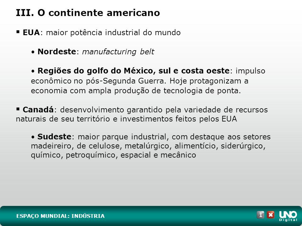 III. O continente americano EUA: maior potência industrial do mundo Nordeste: manufacturing belt Regiões do golfo do México, sul e costa oeste: impuls