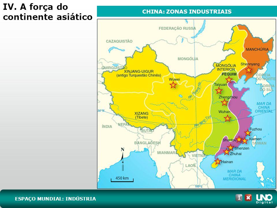 IV. A força do continente asiático ESPAÇO MUNDIAL: INDÚSTRIA CHINA: ZONAS INDUSTRIAIS