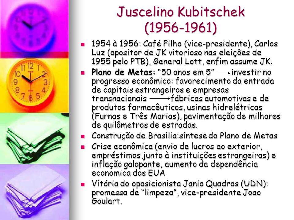 Juscelino Kubitschek (1956-1961) 1954 à 1956: Café Filho (vice-presidente), Carlos Luz (opositor de JK vitorioso nas eleições de 1955 pelo PTB), Gener