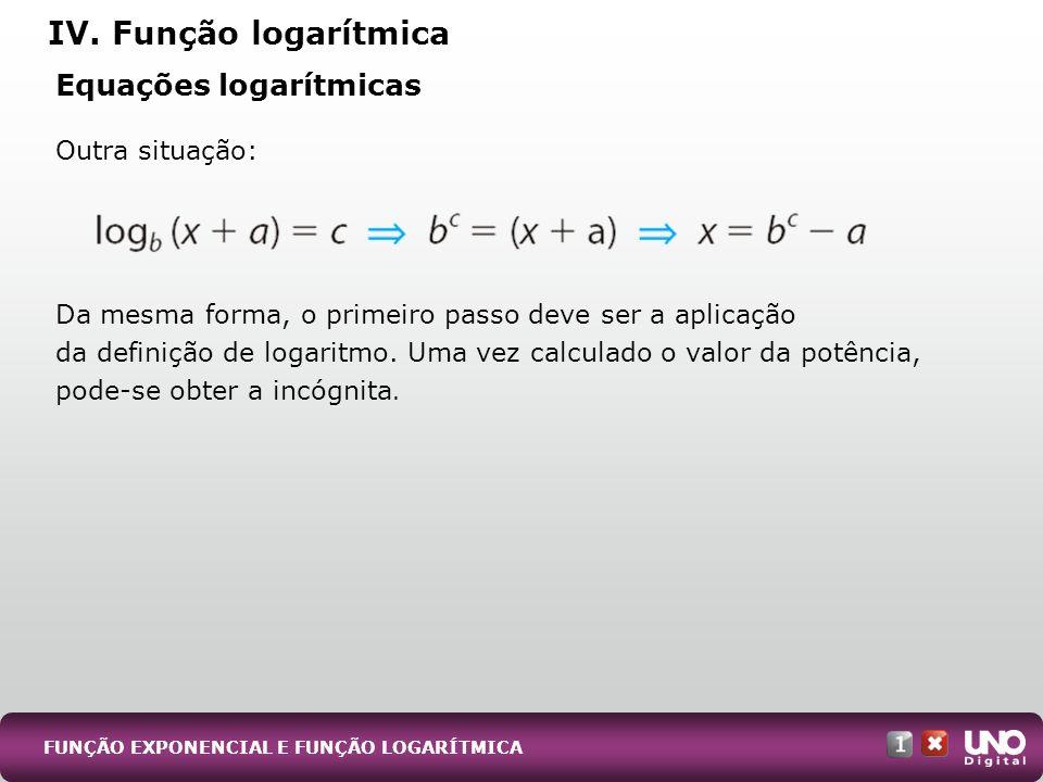 Equações logarítmicas Outra situação: Da mesma forma, o primeiro passo deve ser a aplicação da definição de logaritmo. Uma vez calculado o valor da po