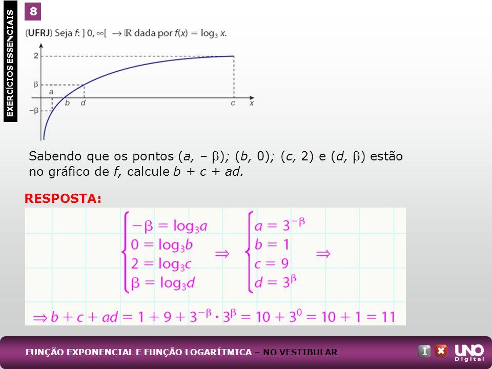 Sabendo que os pontos (a, – ); (b, 0); (c, 2) e (d, ) estão no gráfico de f, calcule b + c + ad. 8 EXERC Í CIOS ESSENCIAIS RESPOSTA: FUNÇÃO EXPONENCIA