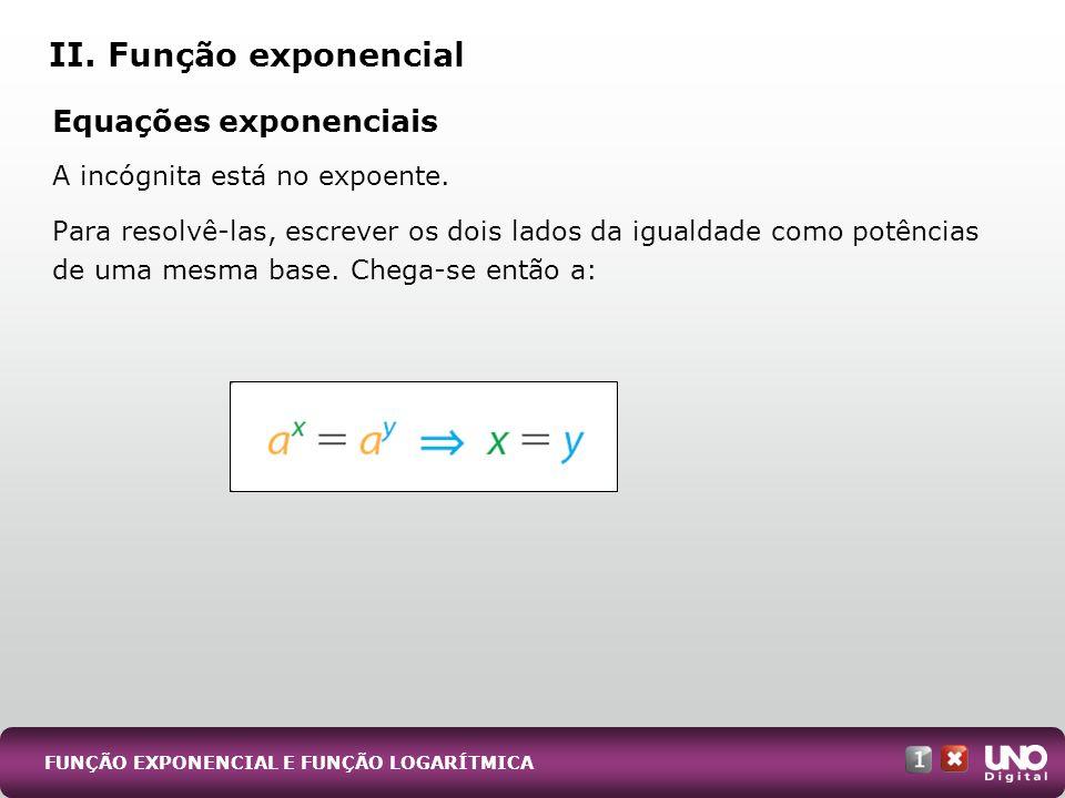 Equações exponenciais A incógnita está no expoente. Para resolvê-las, escrever os dois lados da igualdade como potências de uma mesma base. Chega-se e