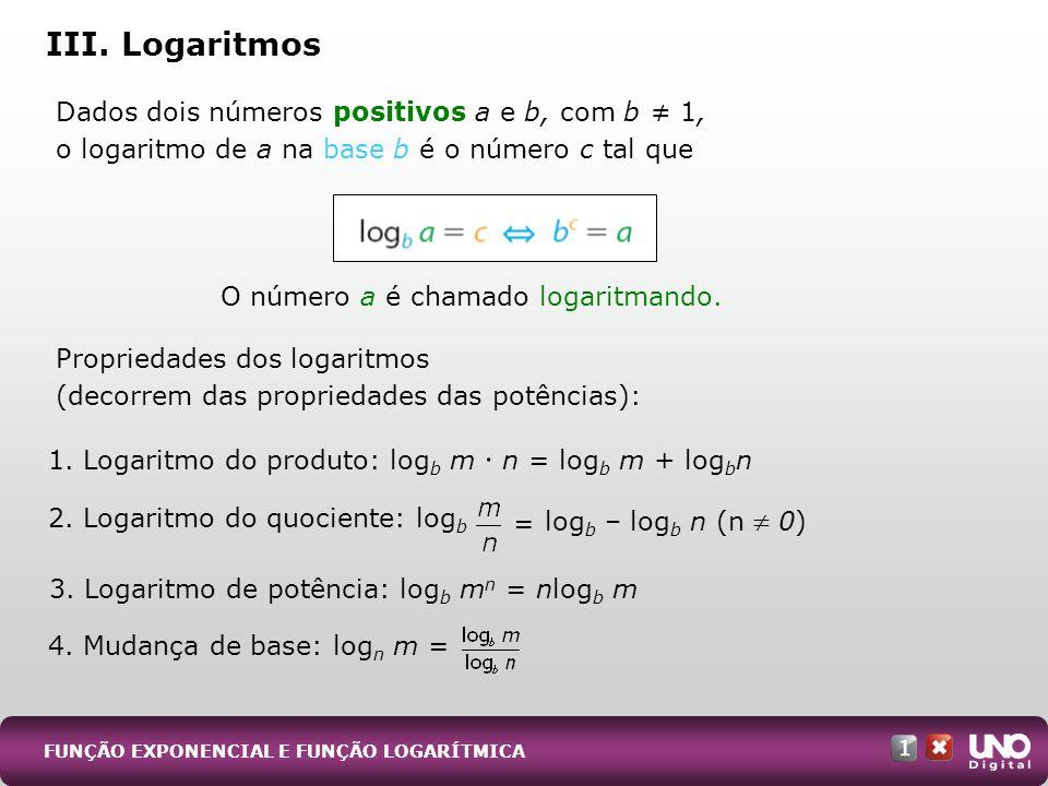 III. Logaritmos Dados dois números positivos a e b, com b 1, o logaritmo de a na base b é o número c tal que Propriedades dos logaritmos (decorrem das
