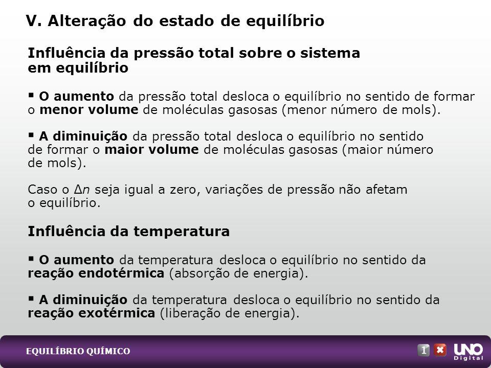 Influência da pressão total sobre o sistema em equilíbrio O aumento da pressão total desloca o equilíbrio no sentido de formar o menor volume de moléc
