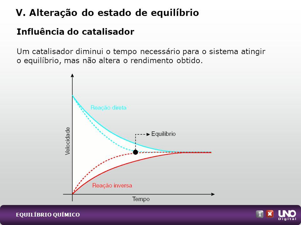 Influência do catalisador Um catalisador diminui o tempo necessário para o sistema atingir o equilíbrio, mas não altera o rendimento obtido. V. Altera
