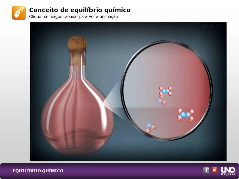 Conceito de equilíbrio químico Clique na imagem abaixo para ver a animação. EQUILÍBRIO QUÍMICO