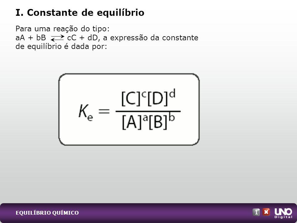 I. Constante de equilíbrio Para uma reação do tipo: aA + bB cC + dD, a expressão da constante de equilíbrio é dada por: EQUILÍBRIO QUÍMICO