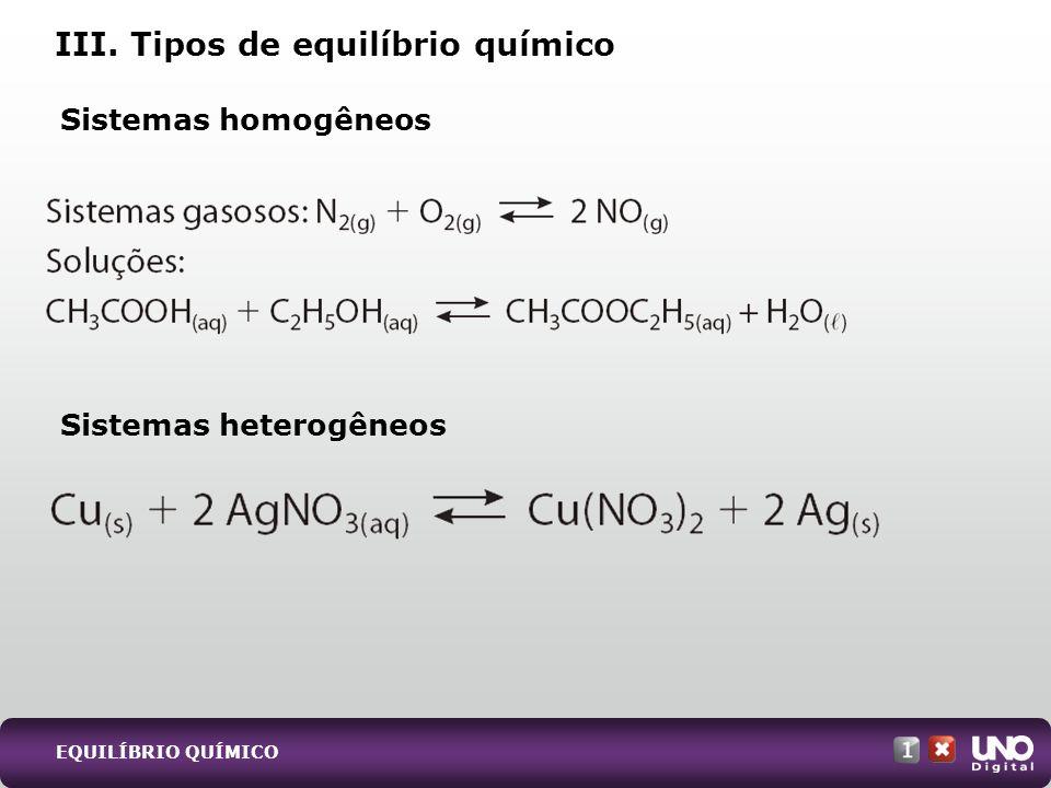 Sistemas homogêneos Sistemas heterogêneos III. Tipos de equilíbrio químico EQUILÍBRIO QUÍMICO