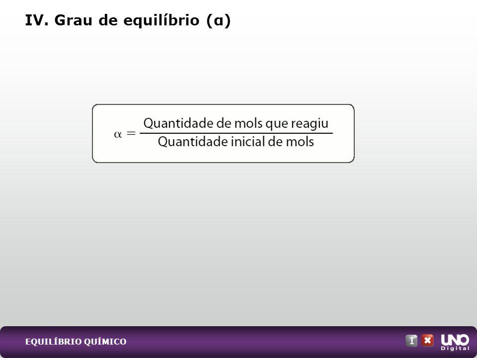 IV. Grau de equilíbrio (α) EQUILÍBRIO QUÍMICO
