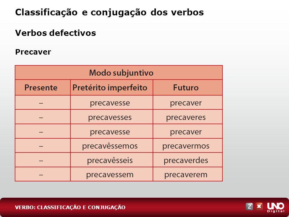 Classificação e conjugação dos verbos Verbos defectivos Precaver VERBO: CLASSIFICAÇÃO E CONJUGAÇÃO