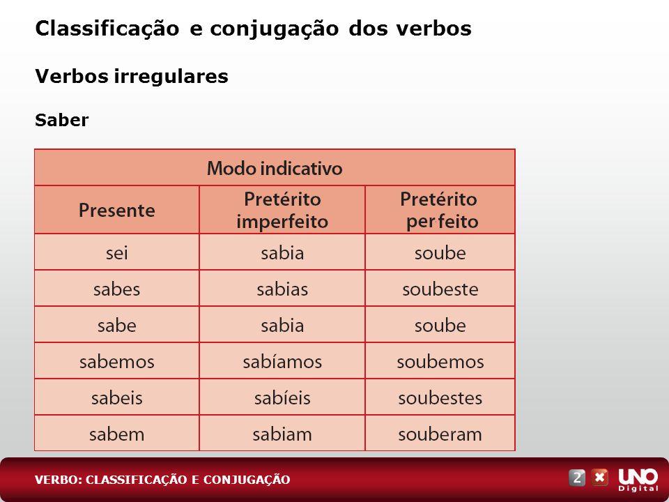 Verbos irregulares Saber Classificação e conjugação dos verbos VERBO: CLASSIFICAÇÃO E CONJUGAÇÃO