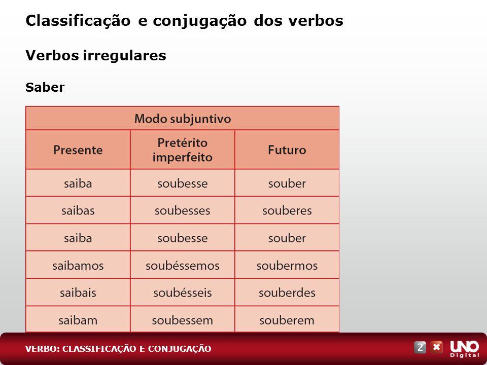 Classificação e conjugação dos verbos VERBO: CLASSIFICAÇÃO E CONJUGAÇÃO Verbos irregulares Saber