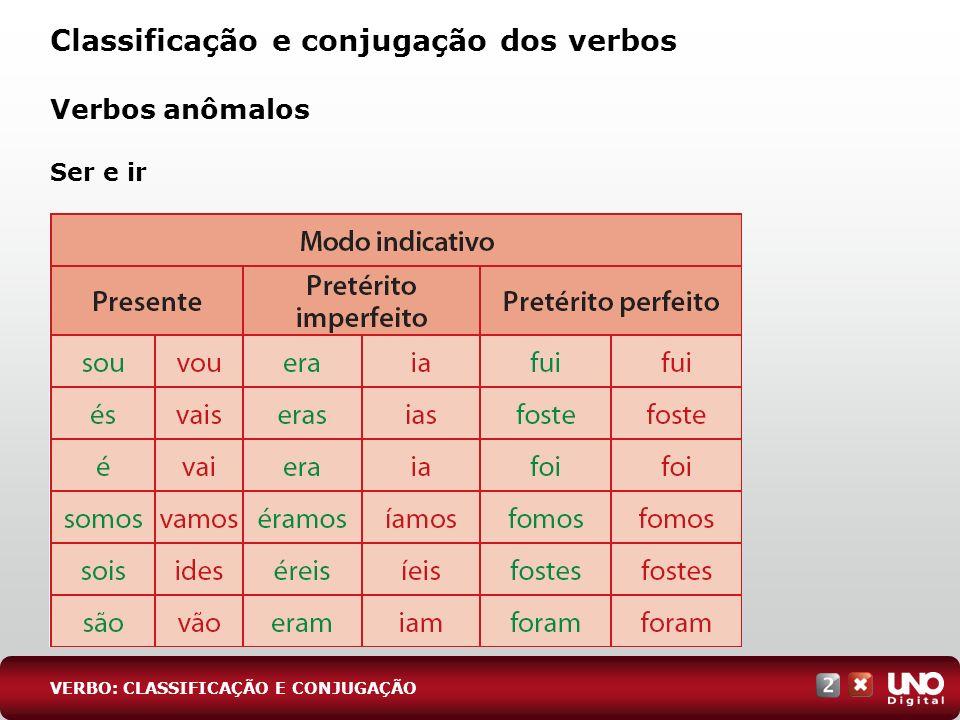 Verbos anômalos Ser e ir Classificação e conjugação dos verbos VERBO: CLASSIFICAÇÃO E CONJUGAÇÃO