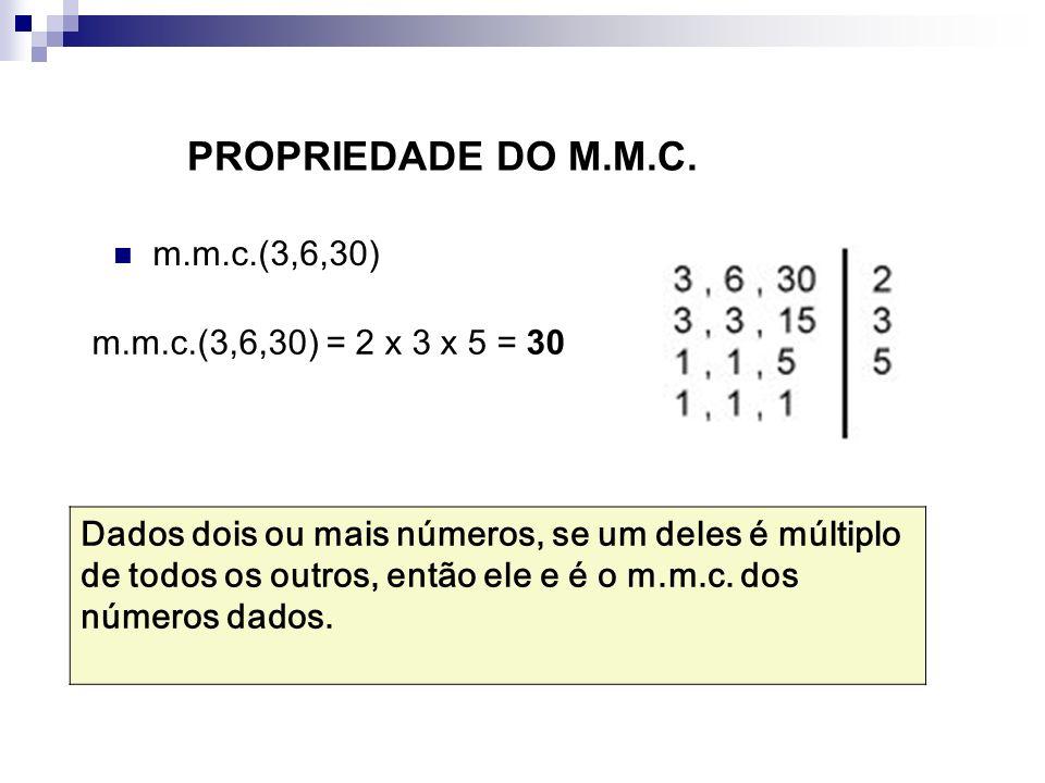 PROPRIEDADE DO M.M.C. m.m.c.(3,6,30) m.m.c.(3,6,30) = 2 x 3 x 5 = 30 Dados dois ou mais números, se um deles é múltiplo de todos os outros, então ele