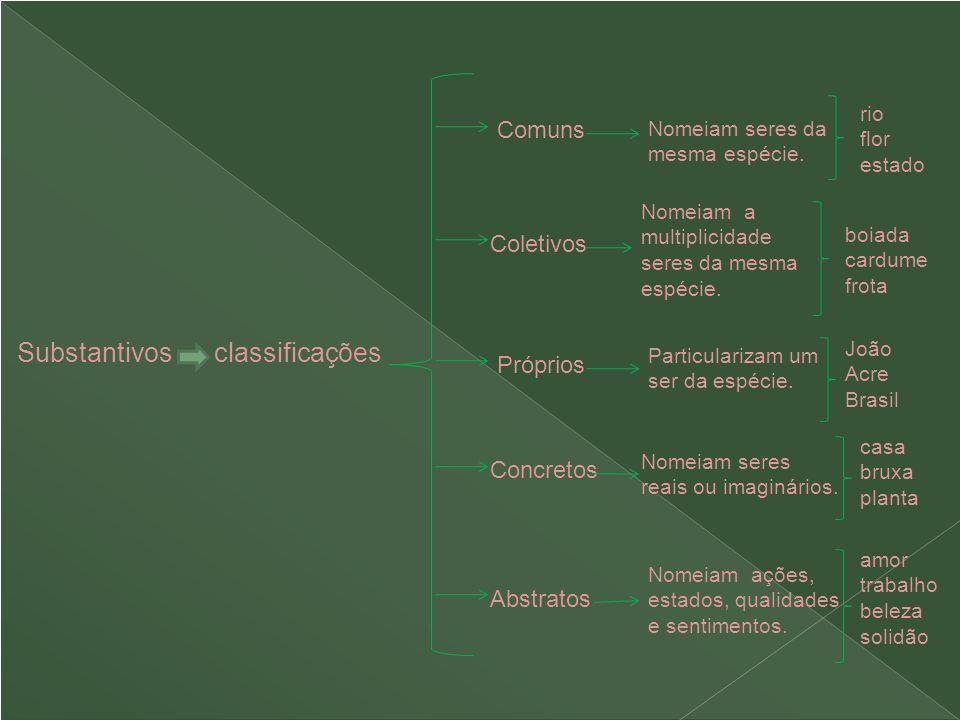 Substantivos classificações Comuns Próprios Concretos Abstratos Coletivos Nomeiam seres da mesma espécie. Nomeiam a multiplicidade seres da mesma espé