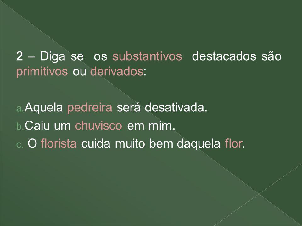 2 – Diga se os substantivos destacados são primitivos ou derivados: a. Aquela pedreira será desativada. b. Caiu um chuvisco em mim. c. O florista cuid