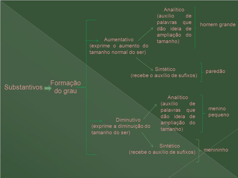 Substantivos Aumentativo (exprime o aumento do tamanho normal do ser) Analítico (auxílio de palavras que dão ideia de ampliação do tamanho) Diminutivo