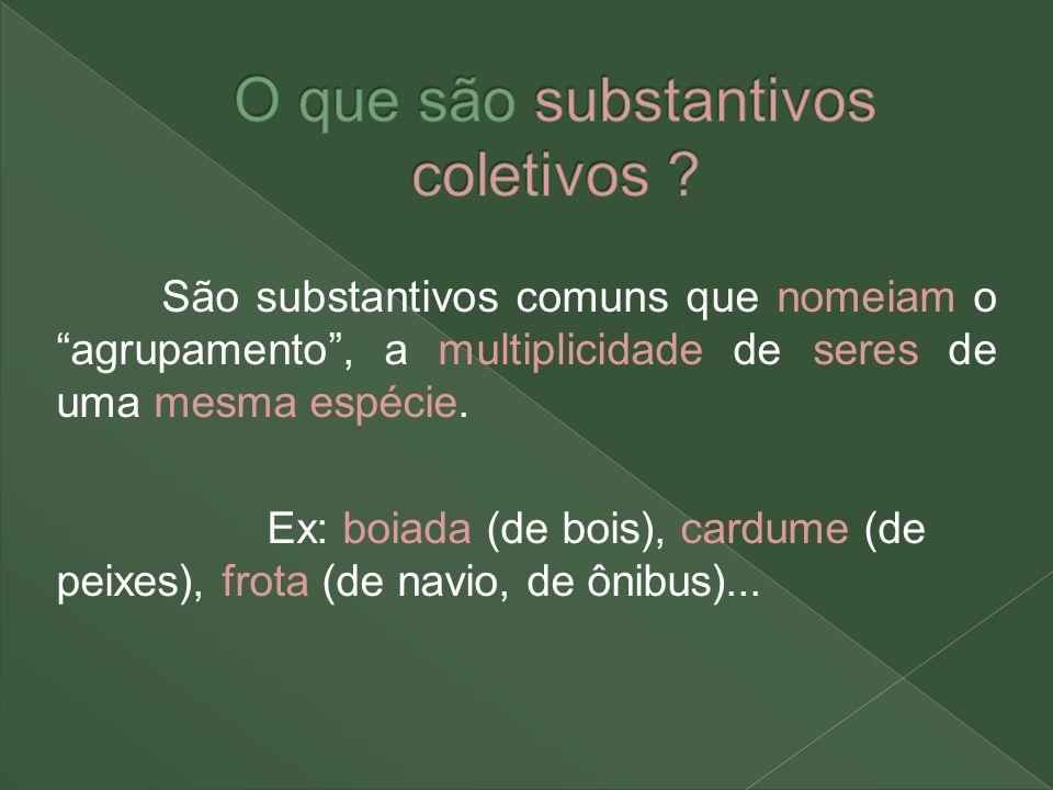 São substantivos comuns que nomeiam o agrupamento, a multiplicidade de seres de uma mesma espécie. Ex: boiada (de bois), cardume (de peixes), frota (d