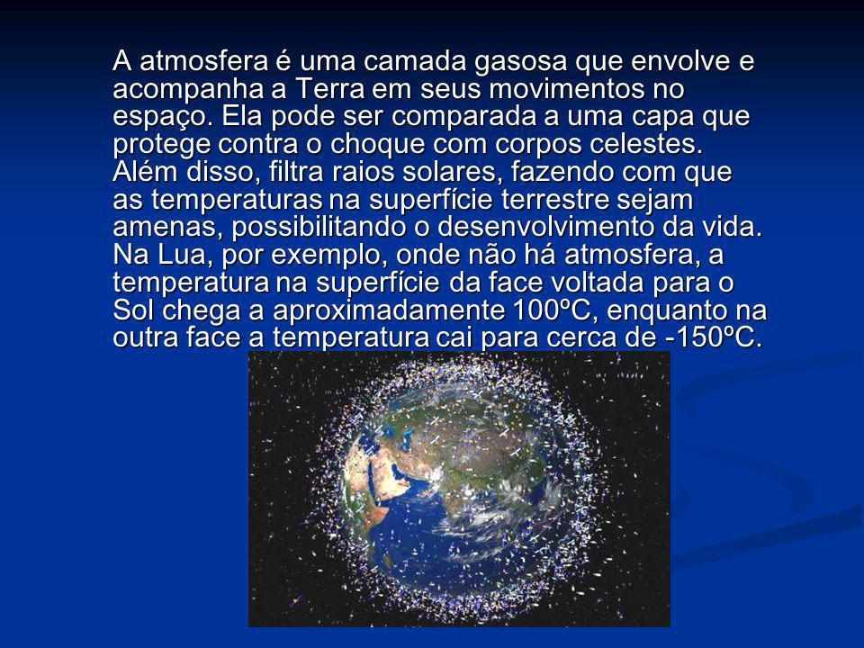 A atmosfera é uma camada gasosa que envolve e acompanha a Terra em seus movimentos no espaço. Ela pode ser comparada a uma capa que protege contra o c