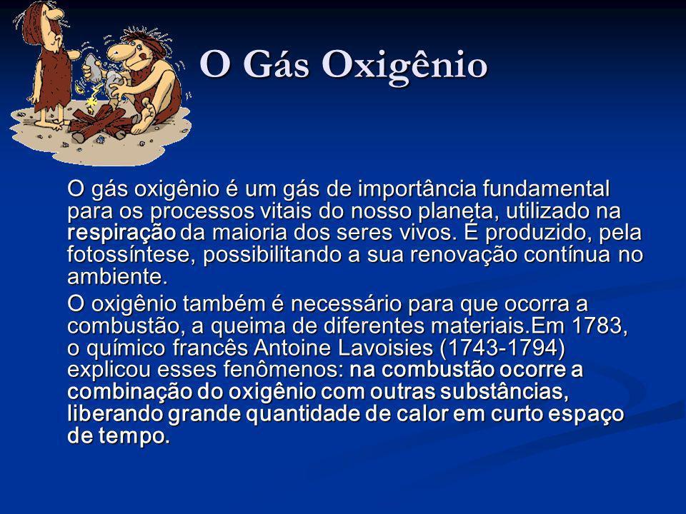 O Gás Oxigênio O gás oxigênio é um gás de importância fundamental para os processos vitais do nosso planeta, utilizado na respiração da maioria dos se