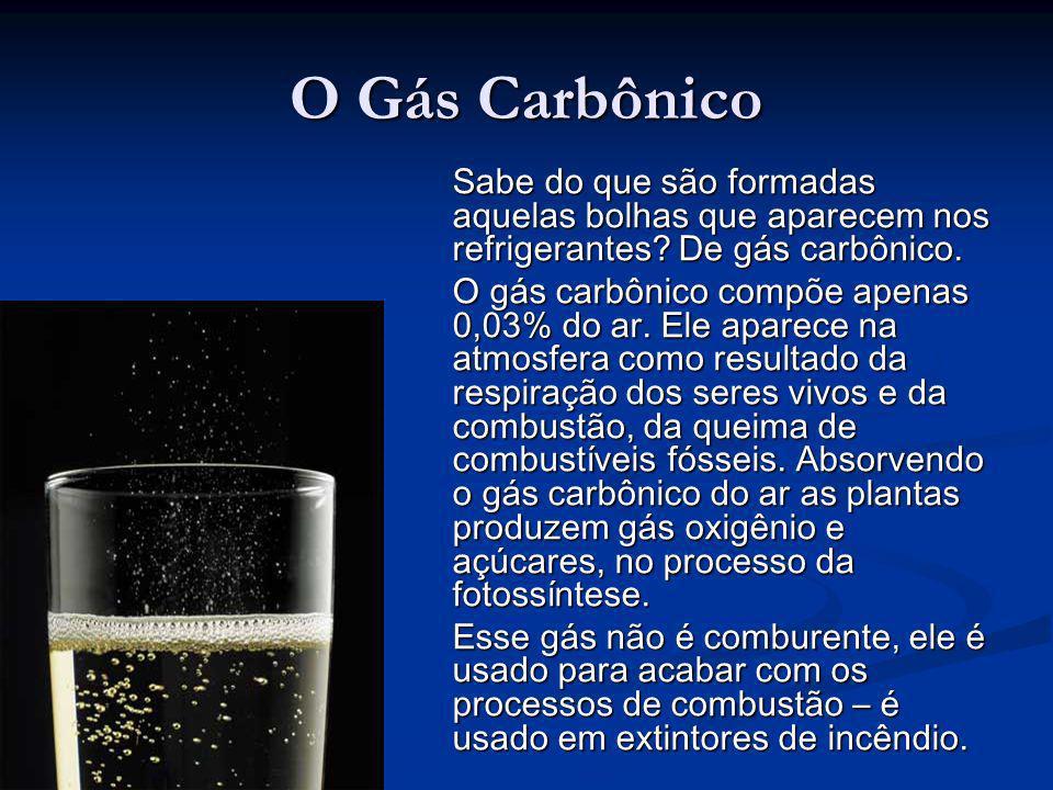 O Gás Carbônico Sabe do que são formadas aquelas bolhas que aparecem nos refrigerantes? De gás carbônico. O gás carbônico compõe apenas 0,03% do ar. E