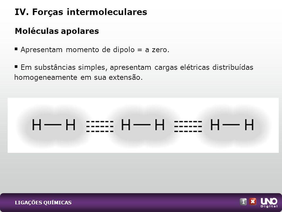 Apresentam momento de dipolo = a zero. Em substâncias simples, apresentam cargas elétricas distribuídas homogeneamente em sua extensão. Moléculas apol